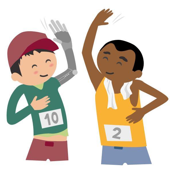 Das Bild zeigt zwei Inklumoji-Sportler, einer der beiden hat eine Arm-Prothese